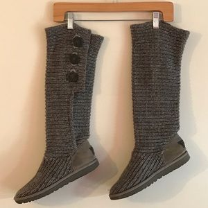 UGG Grey Classic Cardy Woven Cardigan Boots